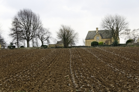 ploughed field: Plowed field in winter in Chipping Campden, England, UK Stock Photo