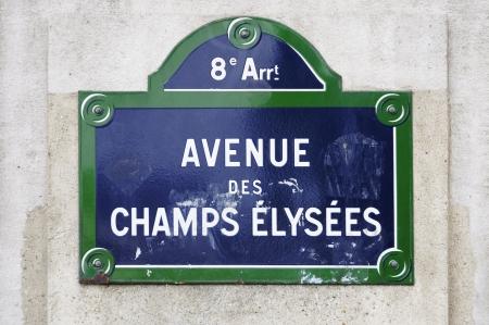 Avenue des Champs Elys straatnaambord in Parijs, Frankrijk Stockfoto