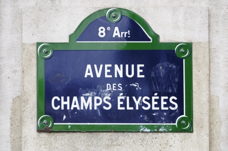Avenue des Champs Elys  street sign in Paris, France