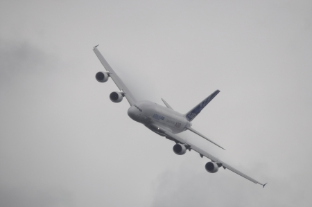 LONDON, UK, Saturday July 14, 2012. The Airbus A380 displaying at Farnborough International Airshow 2012.
