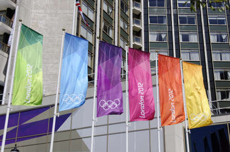 LONDON, UK, Monday July 23, 2012. London 2012 flags next to the Hilton Hotel on Park Lane. The London 2012 Olympic Games will be officially opened on Friday July 27, 2012 at 9pm.