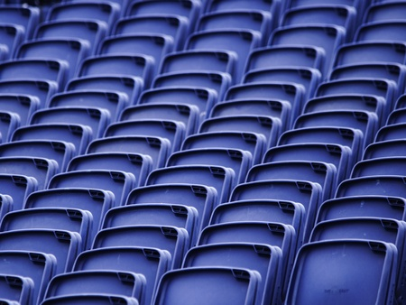 tribune: Empty plastic seats in a tribune Stock Photo