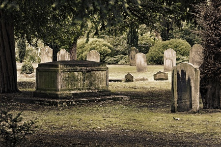spooky graveyard: Tombs in an English cemetery