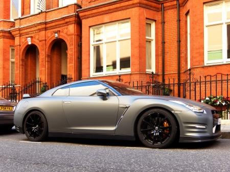 supercar: A matt grey Nissan GTR  Editorial