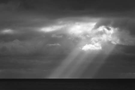 Sunbeam on the sea, stormy weather, black and white photography Stock Photo - 16103557