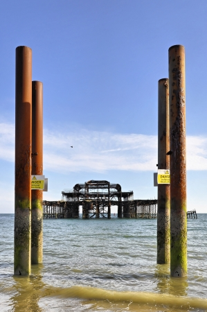 brighton beach: The West Pier in Brighton   Hove, England, UK