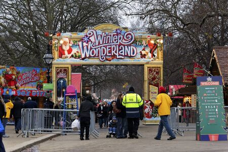 LONDON, UK - DECEMBER 13: The main entrance of Winter Wonderland in Hyde Park, December 13, 2012 in London. Winter Wonderland will be opened until January 6, 2013.