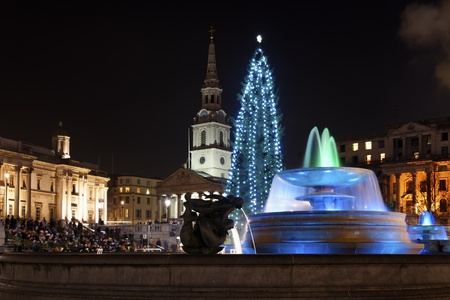 LONDON - DECEMBER 18: The Christmas tree on Trafalgar Square is illuminated with blue lights on December 18, 2012 in London, UK. Since 1947 the pine tree has been a gift from Norway.
