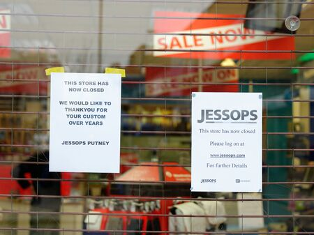 London, UK, 12th January 2013. Jessops camera store on High Street Putney  is closed. Jessops went into administration on Friday 11th January 2013 and as a result has shut all of its 187 stores. About 1370 jobs will be lost. Stock Photo - 17262699