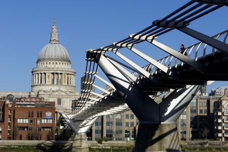 st pauls: The London Millennium Footbridge over the river Thames in London, England, UK