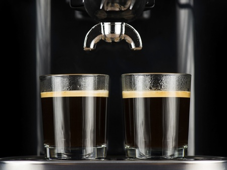 percolator: Two espresso cafes served in glasses under the percolator