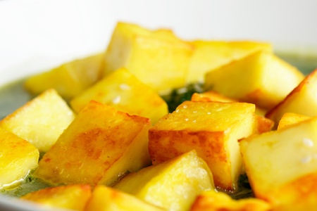 paneer: Fried paneer with sesame seed and spinach