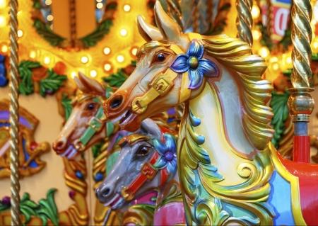 Vintage merry-go-round wooden horses