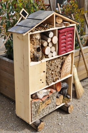 Wooden insect house, also called insect hotel or bug home Stock Photo - 18199271