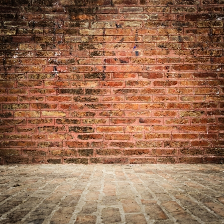 Grungy brick wall and floor with vignette photo