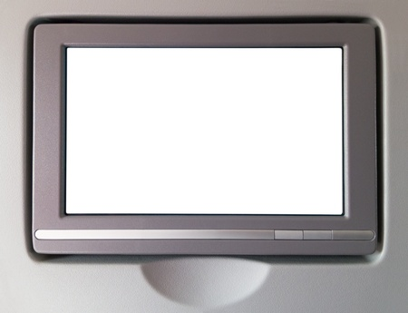 White LCD screen in an airplane seat, copy space for text or image