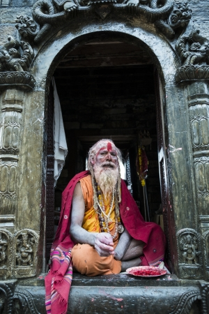 KATHMANDU, NEPAL - MARCH 10: A sadhu during Shivaratri festival, on March 10, 2013 in Kathmandu, Nepal. Shivaratri is celebrated each year to honor Lord Shiva. Stock Photo - 18864185