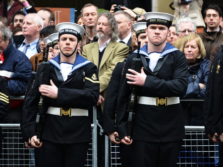 London, UK. April 17th, 2013. Soldiers lining Baroness Thatcher procession route on Ludgate Hill.