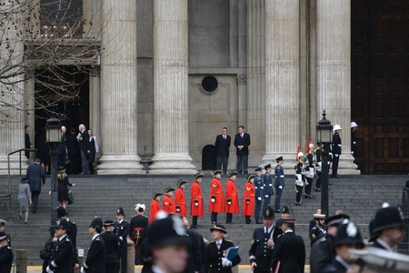contingent: London, UK. April 17th, 2013. The Step Lining Party , comprising 18 Service personnel plus a contingent from the Royal Hospital Chelsea, lines the West Steps of St Pauls Cathedral for the arrival of the Coffin.
