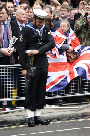 London, UK. April 17th, 2013. Soldier lining Baroness Thatcher procession route on Ludgate Hill.