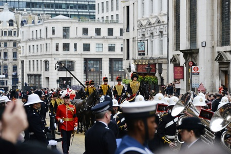London, UK. April 17th, 2013. Baroness Thatchers coffin is carried on a gun carriage on its way to St Pauls Cathedral.