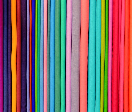 nuance: Colorful pashminas in a shop