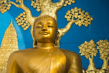 Golden Buddha statue at the World Peace Pagoda in Pokhara, Nepal photo