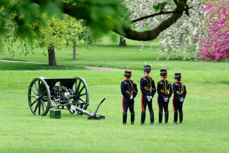 London, UK. May 8th, 2013. The Royal Artillery in Green Park are ready to fire gun salutes for the State Opening of Parliament.