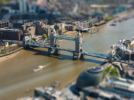 tilt: Tower Bridge and London City Hall aerial view, tilt-shift effect, England, UK
