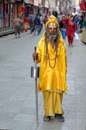 Hindu Yogi begs for money in Kathmandu, Nepal Stock Photo - 20228809