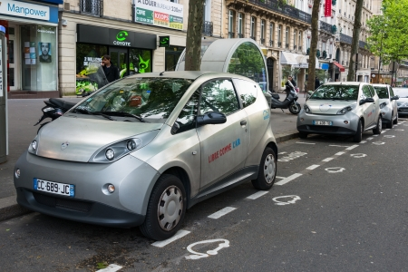 Autolib' electric car sharing service in Paris, France Editorial