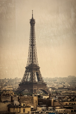 The Eiffel Tower in Paris, France  Vintage effect