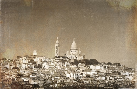 The Basilica of the Sacred Heart of Paris, France  Vintage effect  photo