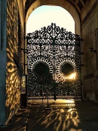 iron: Wellington arch gate at sunset
