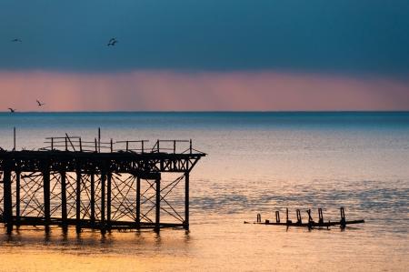 brighton beach: The West Pier at sunset, Brighton, UK