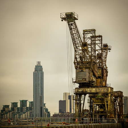 Rusty cranes at Battersea power station in London, UK photo