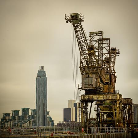 decrepitude: Rusty cranes at Battersea power station in London, UK