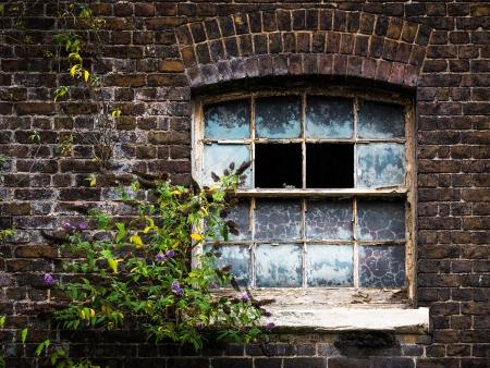 broken house: Broken window in an abandoned house Stock Photo