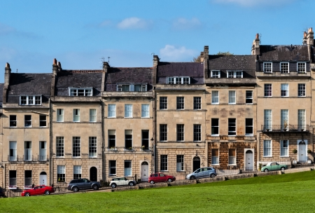 Houses overlooking a park in Bath, England, UK