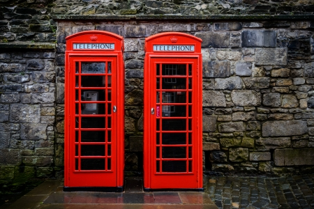 telephone booth: Two red British telephone boxes Stock Photo