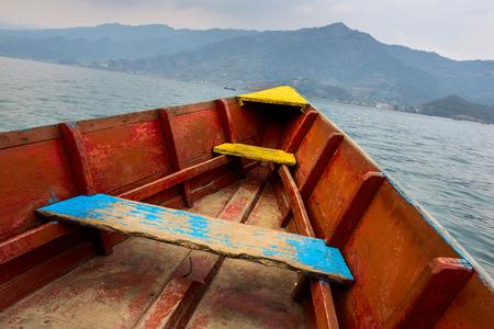 barque: Barque on Phewa Lake in Pokhara, Nepal