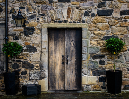 topiary: Wooden entrance door of an old house Editorial