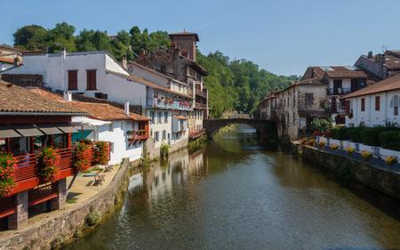 camino de santiago: The river Nive in Saint-Jean-Pied-de-Port, France Editorial