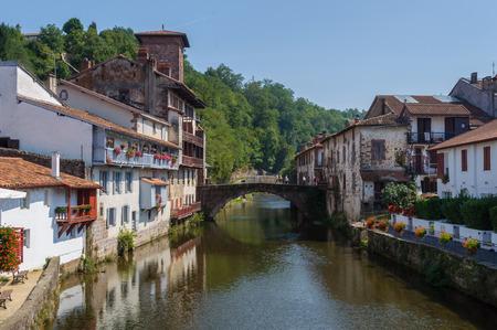 camino de santiago: The river Nive in Saint-Jean-Pied-de-Port, France Stock Photo