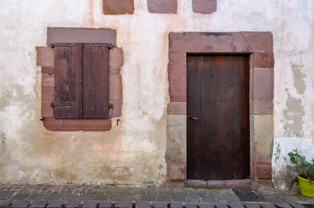 Old traditional house facade in the French basque country photo