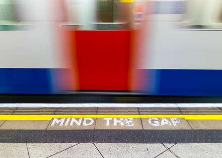 Mind the gap warningin the London underground