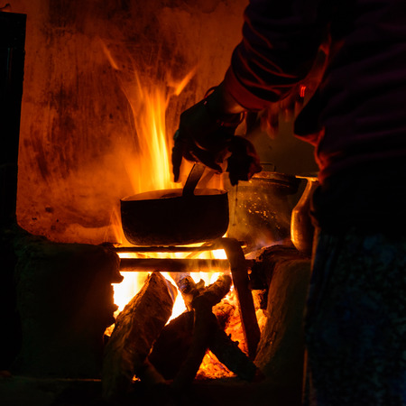 woodfire: Cooking on wood fire in Nepal