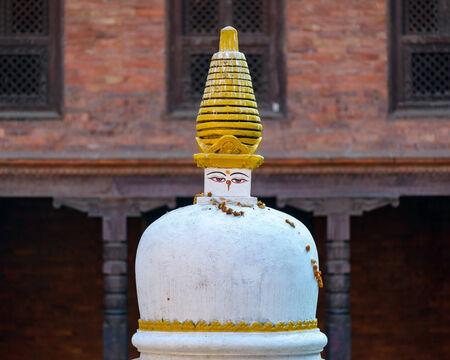 hallowed: White and golden chorten in Bhaktapur, Nepal