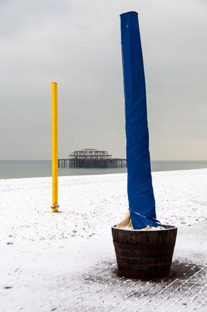 brighton beach: Brighton beach in winter after a snow fall