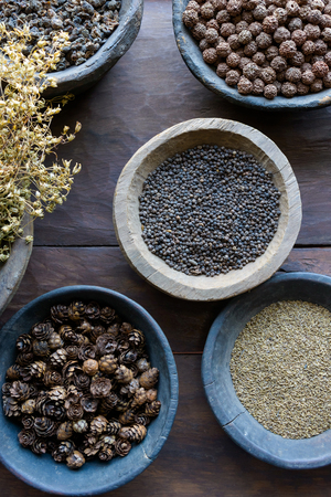 ayurvedic: Herbs and spices in bowls used in ayurvedic medicine
